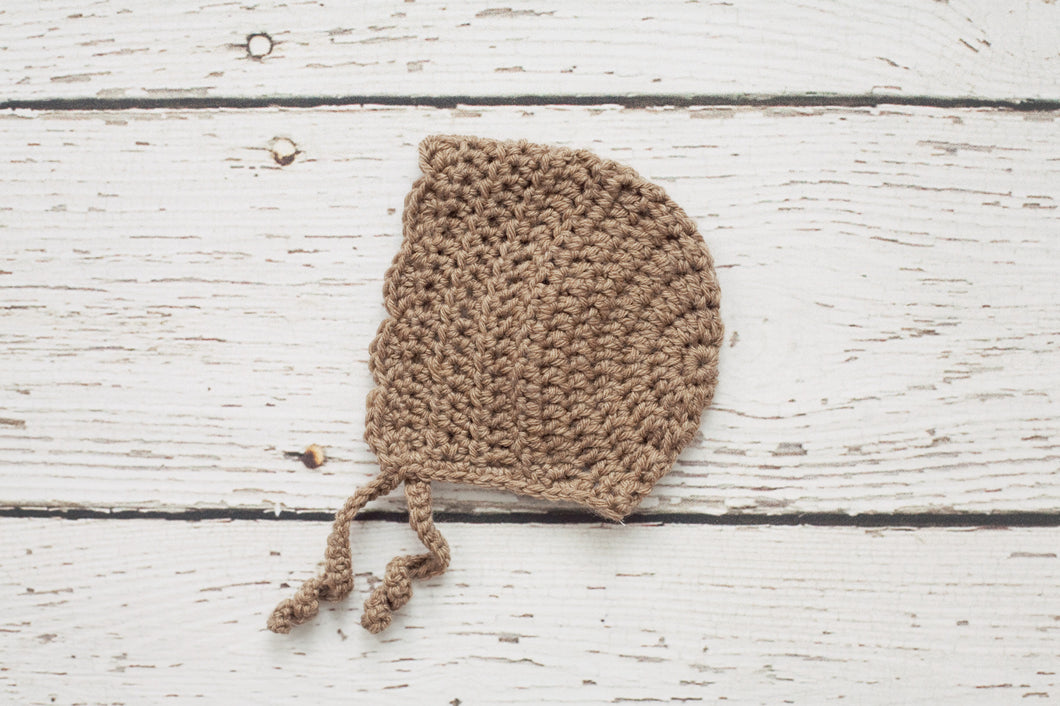 Newborn Bonnet in Tan - 0 to 3 Months