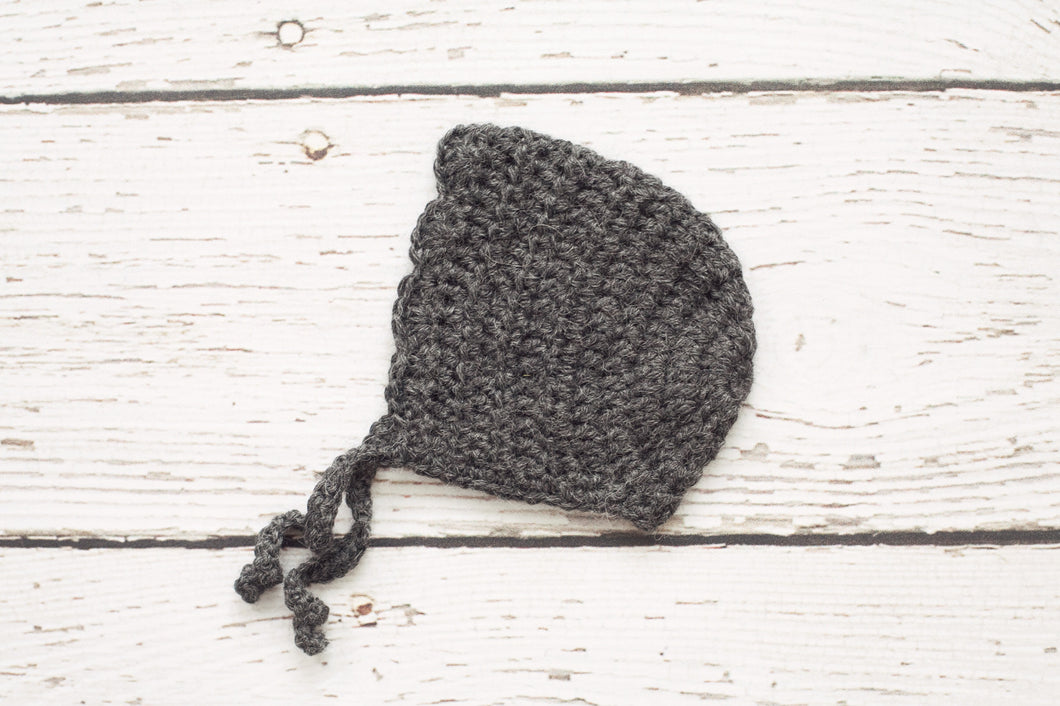 Crochet Baby Girl Bonnet in Charcoal - 0 to 3 Months