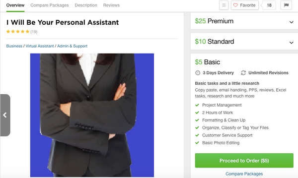 What a job looks like on Fiverr - I've actually used this listing before.
