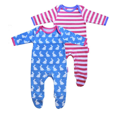 Bunny Sleepsuit with Feet - Blue and white