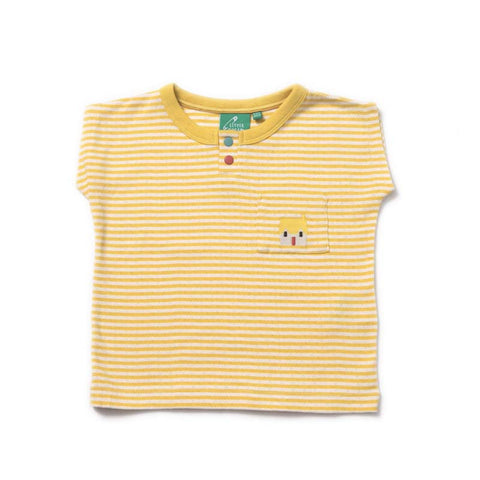 Golden Yellow Striped Pointelle T-shirt