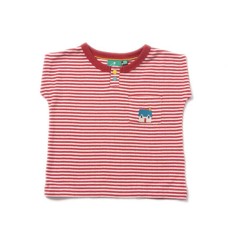 Red Striped Pointelle T-shirt