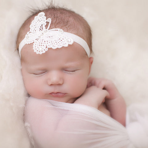 Cute Delicate Lace Butterfly Baby Headband - made by UK mums!