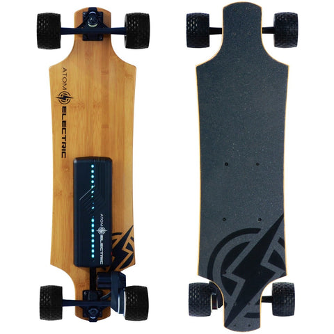 Atom Long Boards B10X All-Terrain Electric Skateboard - Bottom and Top View
