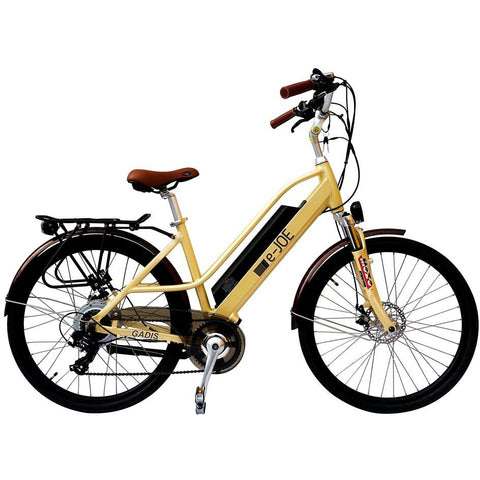 Vanilla Beige  e-Joe GADIS Step Thru - Electric Cruiser Bike - Side View