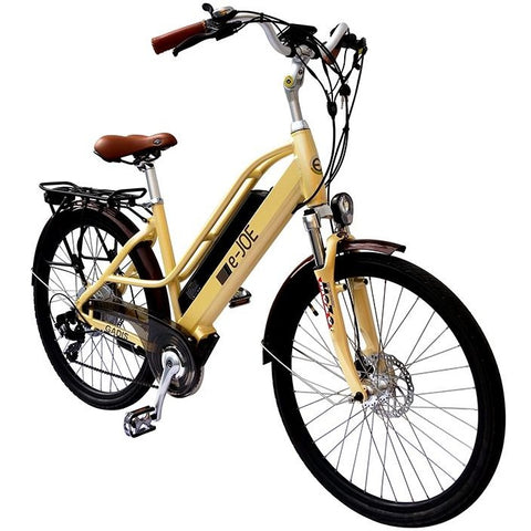 Vanilla Beige e-Joe GADIS Step Thru - Electric Cruiser Bike - Front View