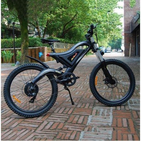 Black AddMotor HitHot H5 - Electric Mountain Bike - On Sidewalk