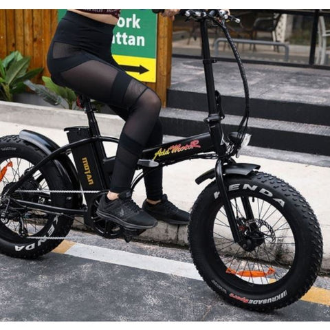 Black AddMotor M-150 - Folding Fat Tire Electric Bike - Riding Outside