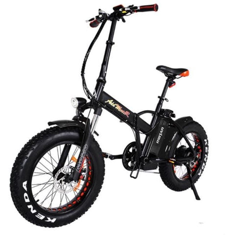 Black AddMotor Motan M150 P7 - Folding Fat Tire Electric Bike - Front View