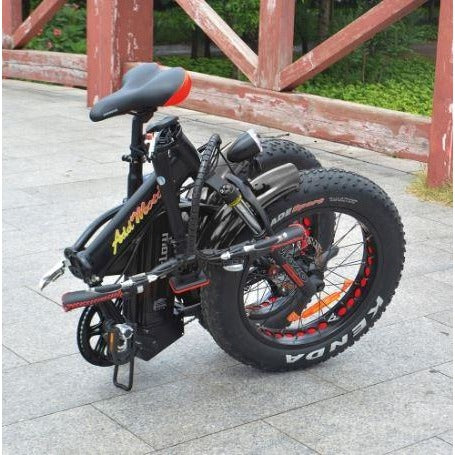 Black AddMotor Motan M150 Platinum - Folding Fat Tire Electric Bike - folded