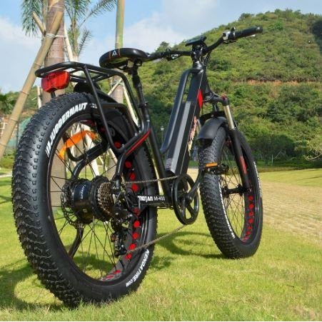 Black AddMotor Motan M450 - Fat Tire Electric Bike - Outside rear view