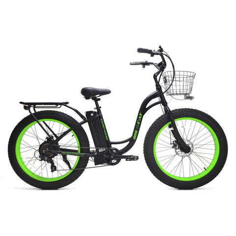 Green Big Cat Long Beach Cruiser XL500 - Electric Cruiser Bike - Side View