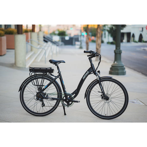 Populo Lift V2 Electric Cruiser Bike - On the sidewalk
