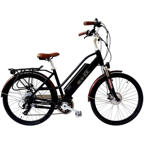 Midnight Black e-Joe GADIS Step Thru - Electric Cruiser Bike - Side View