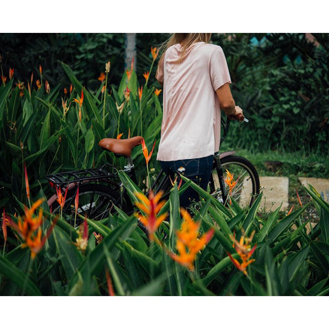 e-Joe GADIS Step Thru - Electric Cruiser Bike - Walking through flowers