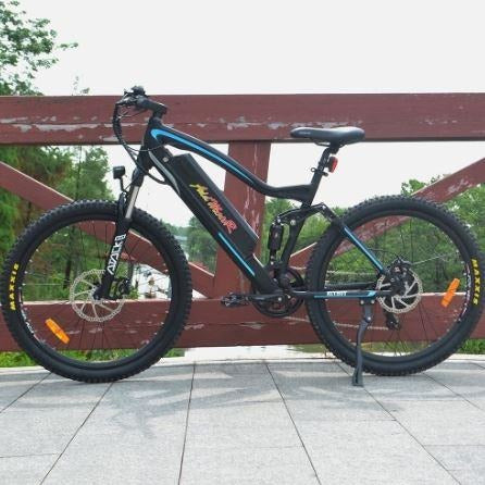 Blue AddMotor HitHot H1 Platinum - Electric Mountain Bike - On Bridge