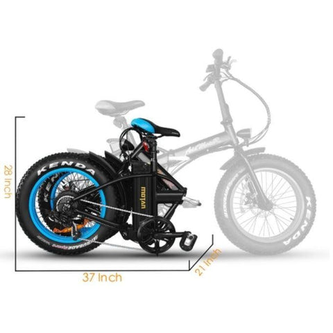 Blue AddMotor M-150 - Folding Fat Tire Electric Bike - Folded