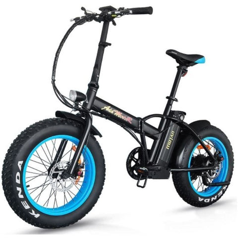 Blue AddMotor M-150 - Folding Fat Tire Electric Bike - Front View
