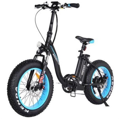 Blue AddMotor Motan M140 - Folding Fat Tire Electric Bike - Front View