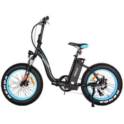 Blue AddMotor Motan M140 - Folding Fat Tire Electric Bike - Side View