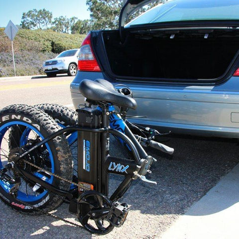 EMOJO Lynx Pro - Fat Tire Folding Electric Bike - Folded in trunk