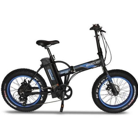 Black and Blue EMOJO Lynx Pro - Fat Tire Folding Electric Bike - Side View