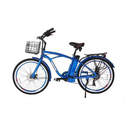 Blue X-Treme Newport Electric Cruiser Bike - Side View