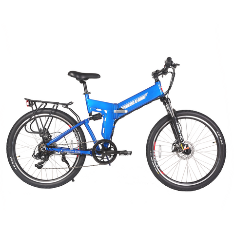 Blue X-Treme X Cursion Elite Folding Electric Mountain Bike - Side View