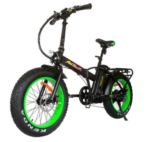 Green AddMotor Motan M150 - Folding Fat Tire Electric Bike - Front View