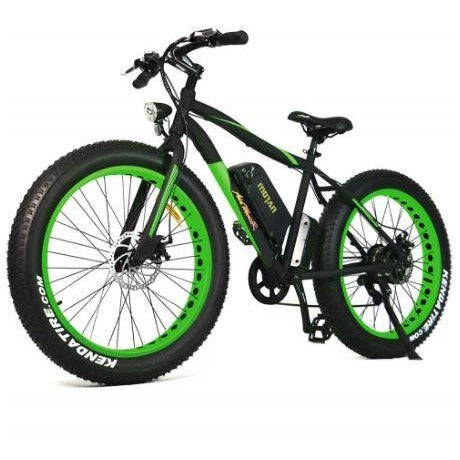 Green AddMotor Motan M550 - Fat Tire Sport Electric Bike - Front View