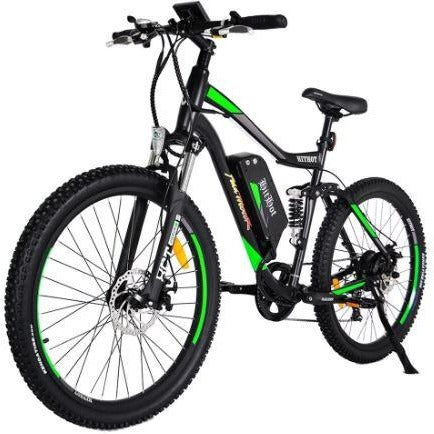 Green AddMotor HitHot H1 - Electric Mountain Bike - Front View