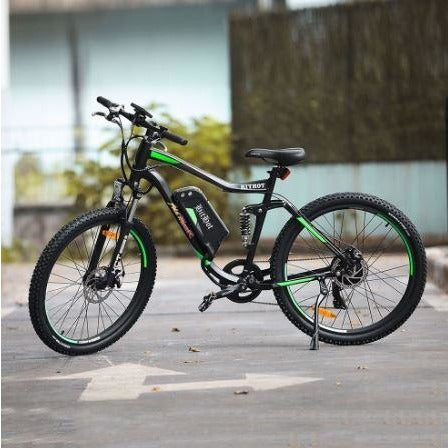 Green AddMotor HitHot H1 - Electric Mountain Bike - in parking lot
