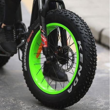 Green AddMotor Motan M140 - Folding Fat Tire Electric Bike - Front Wheel