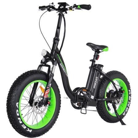 Green AddMotor Motan M140 - Folding Fat Tire Electric Bike - Front View