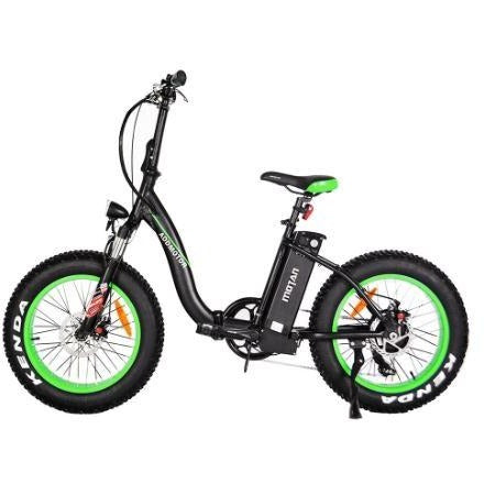 Green AddMotor Motan M140 - Folding Fat Tire Electric Bike - Side View