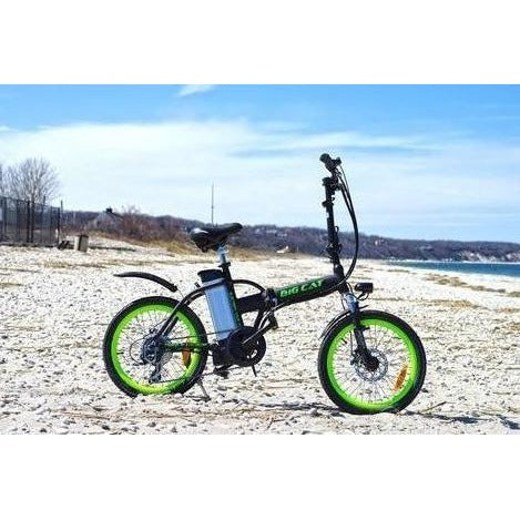 Green Big Cat Alley Cat - Folding Electric Bike - On Beach