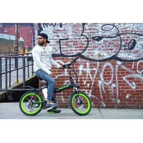 Green Big Cat Alley Cat - Folding Electric Bike - Rider in front of graffiti