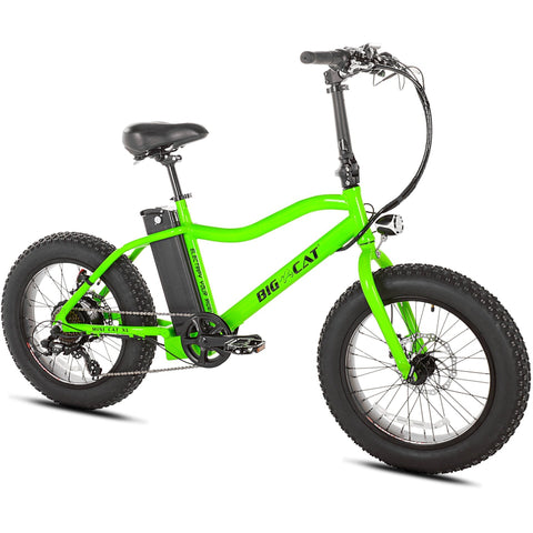 Green Big Cat Mini Cat XL500 - Fat Tire Electric Bike - Front View