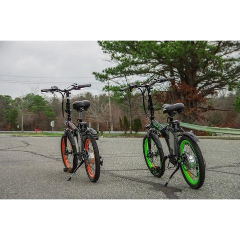 Big Cat Alley Cat - Folding Electric Bike - Two Bikes in Parking Lot