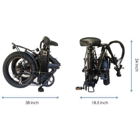 Joulvert Playa Desert - Folding Electric Bike - Folded Dimensions