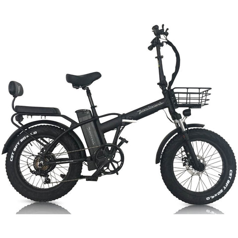 Black Joulvert Playa Desert - Folding Electric Bike - Side View with Rear Seat and Basket
