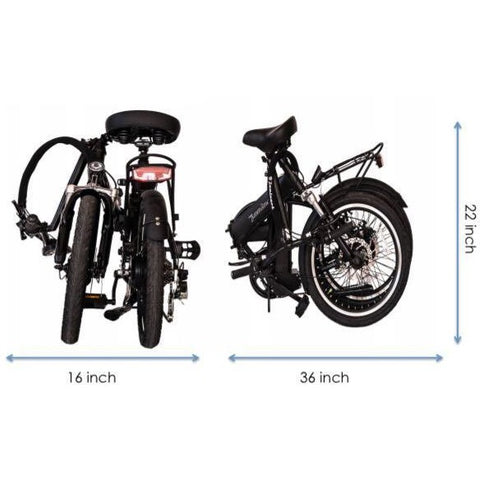Joulvert Playa Journey - Folding Electric Bike - Folded Dimensions