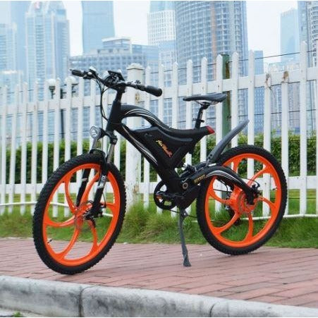 Orange AddMotor HitHot H2 w/ MAG Wheel - Electric Mountain Bike - On Sidewalk