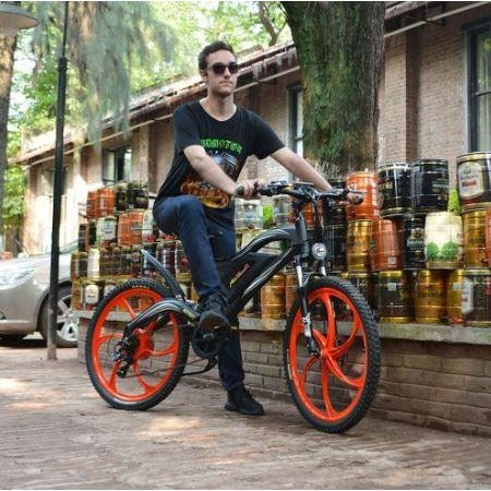 Orange AddMotor HitHot H2 w/ MAG Wheel - Electric Mountain Bike - Riding Down the Street