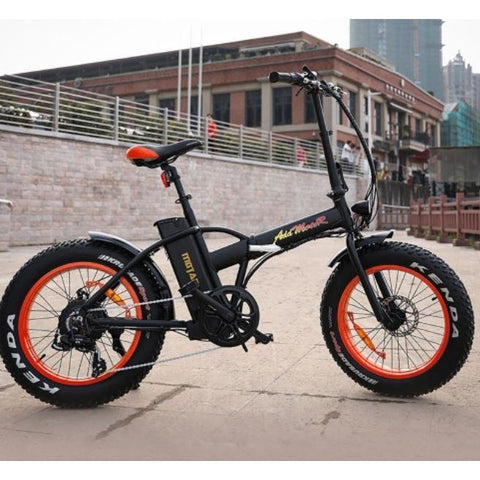 Orange AddMotor Motan M150 - Folding Fat Tire Electric Bike - On Pavement
