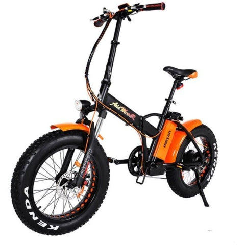 Orange AddMotor Motan M150 Platinum - Folding Fat Tire Electric Bike - Front View