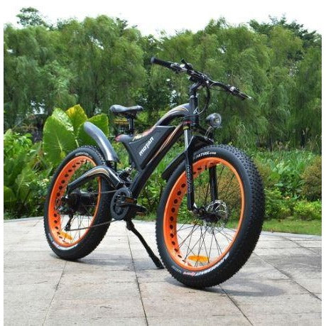 Orange AddMotor Motan M850 750W - Electric Mountain Bike - On Bike Path