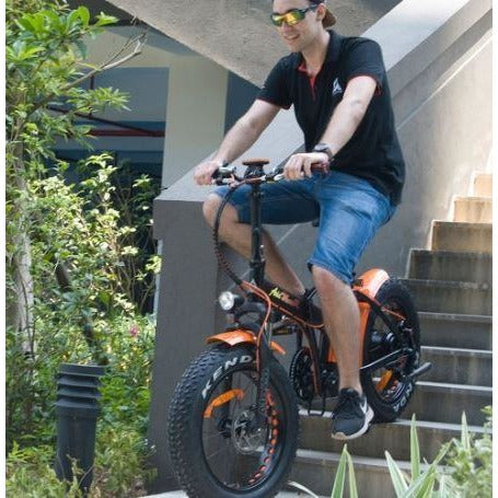 AddMotor Motan M150 P7 - Folding Fat Tire Electric Bike - Riding Down Stairs