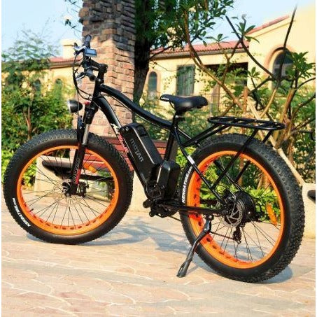 Orange AddMotor Motan M550 750W -  Fat Tire Electric Bike - Outside rear view
