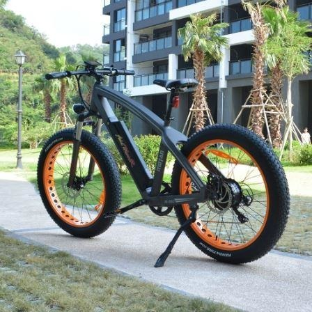 Orange AddMotor Motan M560 - Sport Fat Tire Electric Bike - On Sidewalk